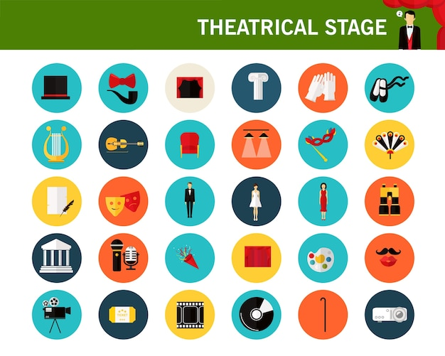 Theatrical stage concept flat icons.