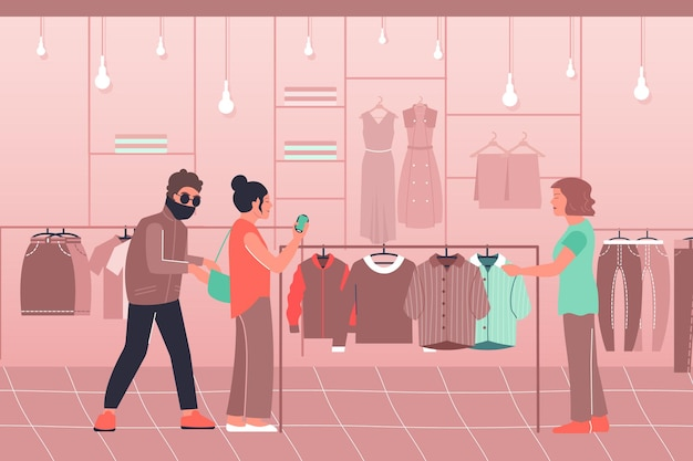 シャツと犯罪者のキャラクターのイラストを選択する衣料品店の女性の屋内ビューと盗難バッグフラット構成