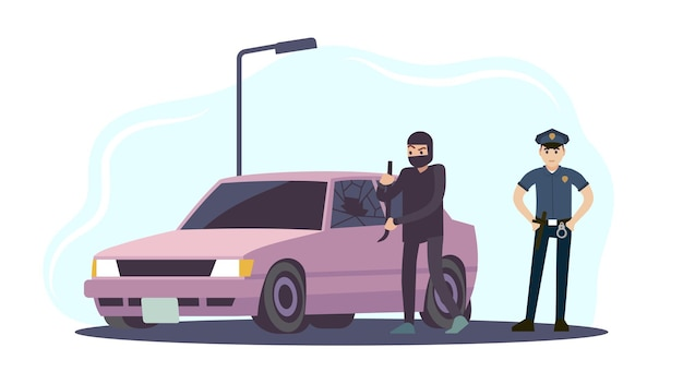 Theft of car. thieves in black mask take apart car and policeman in uniform, criminal steals auto crime damage destruction of another property, security system concept cartoon flat vector illustration