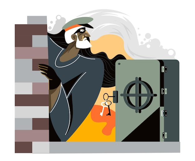 Theft and crime, bank robbery by man wearing mask. breaking strongbox and stealing gold and financial assets from accounts. wealth and illegal incomes. character and storage. vector in flat style