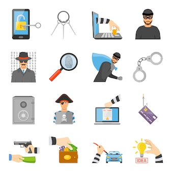 Theft icons set