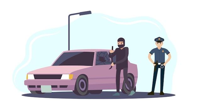 Кража автомобиля. воры в черной маске разбирают машину и полицейского в униформе, преступник крадет автопреступность, разрушает другое имущество, концепция системы безопасности мультфильм плоская векторная иллюстрация