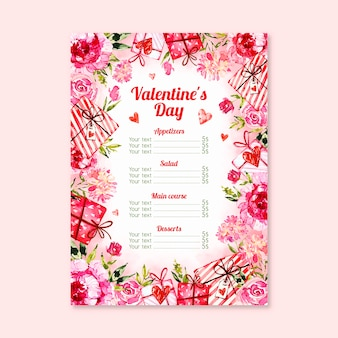 Thematic menu concept for valentines day