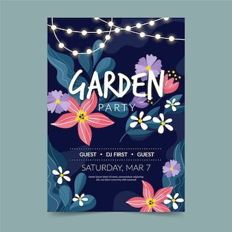 Thematic spring party flyer template