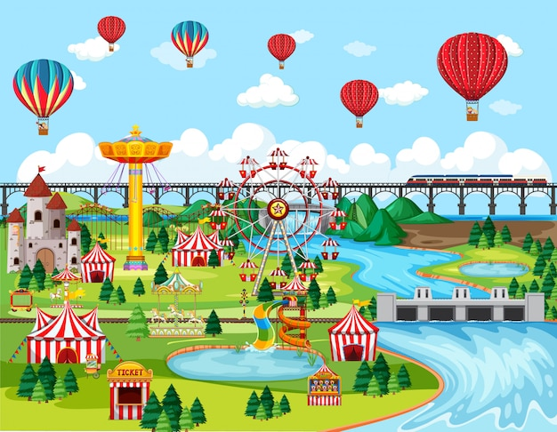 Theme amusement park festival with balloon landscape scene