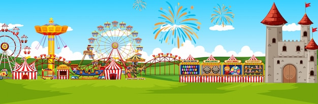 Theme amusement park landscape scene panorama view cartoon style
