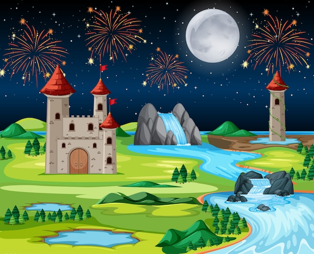 Theme night castle park with fire work and balloon landscape scene