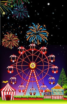 Theme park at night with firework
