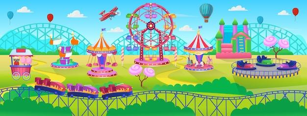 Сцена тематического парка с электромобилями, колесо обозрения, карусель, батут, парк развлечений, вектор