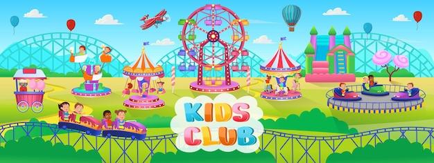 Theme park scene with electric cars ferris wheel carrousel trampoline amusement park