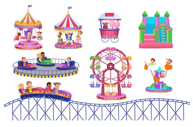 Theme park set with electric cars ferris wheel carrousel, amusement park