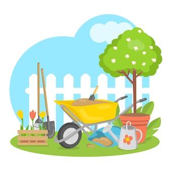 평면 디자인의 정원 도구와 식물이 있는 테마