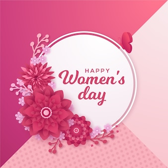 Theme for womens day in paper style