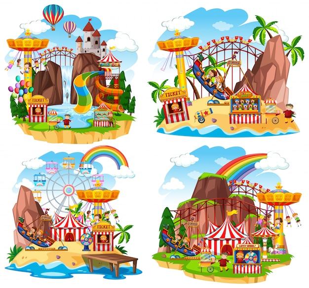 Сцена в тематическом парке с множеством аттракционов и счастливых детей