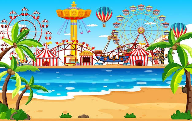 Themepark scene with many rides by the beach