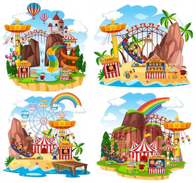 La scena del parco con molte giostre e bambini felici