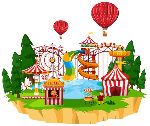 La scena del parco con molte giostre e parco acquatico