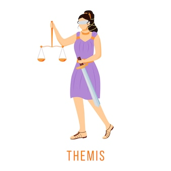 Themis   illustration. titaness of law and order. ancient greek deity. divine mythological figure.  cartoon character on white background