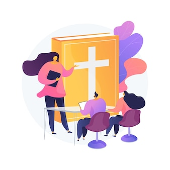 Theological lectures abstract concept   illustration. online religious lectures, studies course, christian thinkers, divinity school, doctrine of god, church fathers