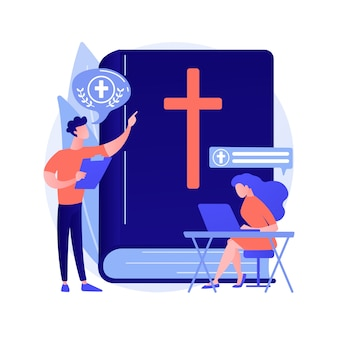 Theological lectures abstract concept vector illustration. online religious lectures, studies course, christian thinkers, divinity school, doctrine of god, church fathers abstract metaphor.