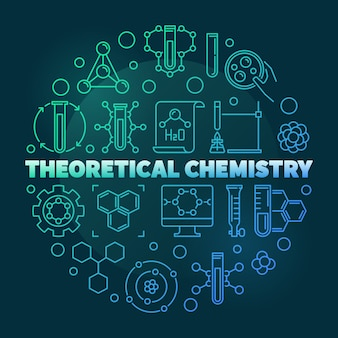 Theoretical chemistry colored round line icon illustration
