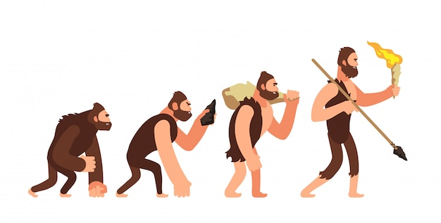 Theory of human evolution. man development stages.