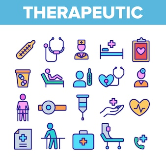Therapeutic elements icons set