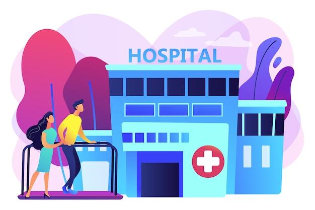 재활 센터에서 환자와 함께 일하는 치료사. 재활 센터, 재활 병원, 건강 상태 개념의 안정화. 밝고 활기찬 보라색 고립 된 그림