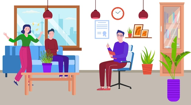 Therapy for couple psychologist office vector illustration man woman character with problem therapis...