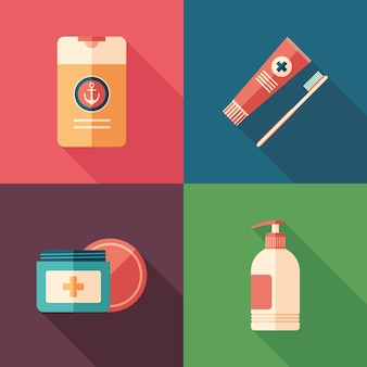 Therapy and hygiene flat square icons with long shadows.