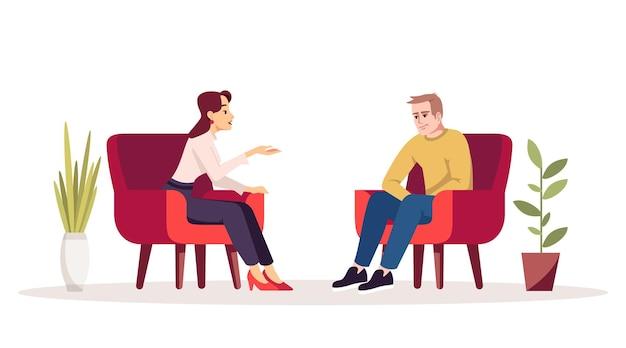 セラピーセッションセミフラットrgbカラーベクトルイラスト。インタビュー。ミーティング。アームチェアのカップル。居心地の良い部屋で会話をしている人。心理相談。白の孤立した漫画のキャラクター
