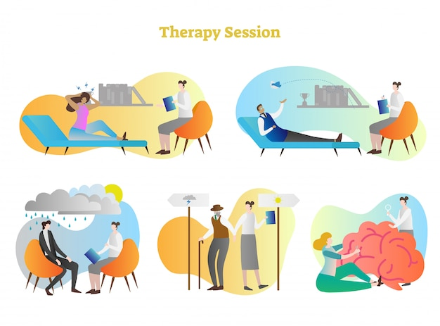 Therapy session vector illustration collection