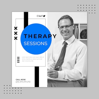 Therapy sessions square flyer template