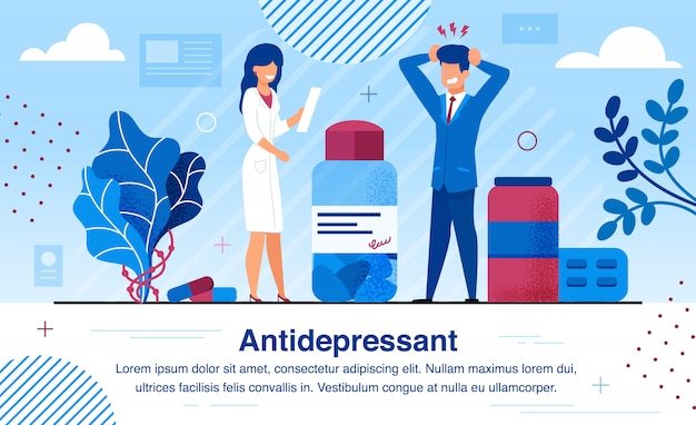 Therapy with antidepressants flat vector banner
