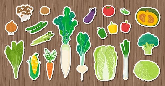 There are a lot of vegetables on the board.seal type design. art that is easy to edit.