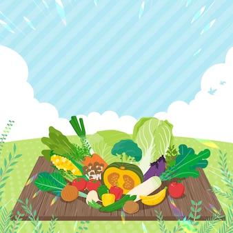 空の下には野菜がたくさんあります。正方形のサイズ。編集しやすいアート。