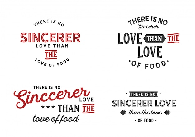 There is no sincerer love than the love of food lettering set