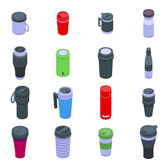 サーモカップアイコンを設定します。白い背景で隔離のwebデザインのサーモカップベクトルアイコンの等尺性セット