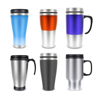 Thermo cup travel mug mock-up set,  realistic illustration