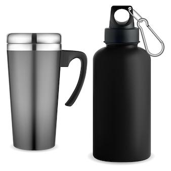 Thermo mug whater bottle. 재사용 가능한 열 텀블러. 커피 또는 차가운 음료를위한 여행용 컵.