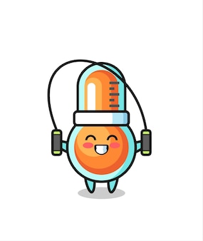 밧줄을 건너뛰는 온도계 캐릭터 만화, 티셔츠, 스티커, 로고 요소를 위한 귀여운 스타일 디자인