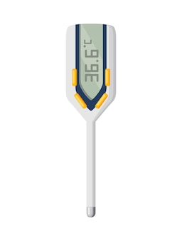 온도계 아이콘입니다. 벡터에서 체온을 측정합니다. 전자 온도계 주요 예방 코로나바이러스. 흰색 배경에 고립 된 웹 디자인을 위한 만화 아이콘.