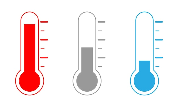 세 가지 수준이 설정된 온도계 아이콘입니다.