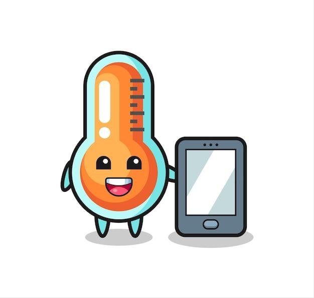 스마트폰을 들고 온도계 일러스트 만화