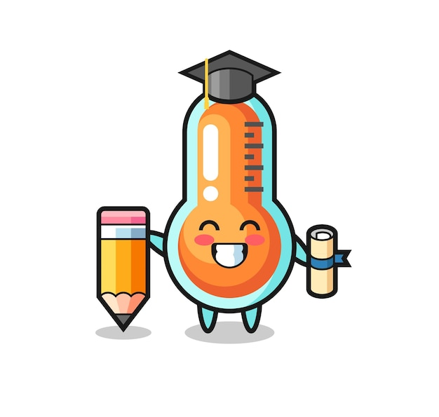 Thermometer illustration cartoon is graduation with a giant pencil