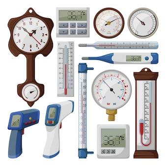 흰색 배경에 온도계 그림입니다. 격리 된 만화 아이콘 기압계를 설정합니다. 만화는 아이콘 온도 조절기를 설정합니다.