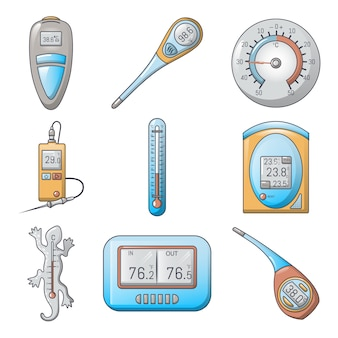 Thermometer indicators icons set