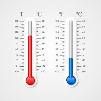 寒さと暑さの温度計、冬と夏の温度スケール。ベクトルイラスト