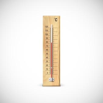 摂氏スケールの木製ベースの温度計