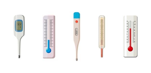 온도계 세트. 온도계의 만화 세트